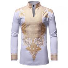 Черный Африканский Дашики печати рубашка для мужчин 2019 Мода хип хоп Уличная одежда африан Slim Fit рубашка с длинными рукавами мужской сорочка(China)