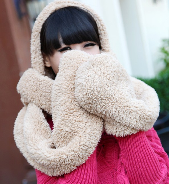 2014 Hot Sale New fashion Women's Plush Scarf Winter Warm Shawl Scarve Solid Cashmere Pashmina Knit Long Scarves wrap For woman(China (Mainland))