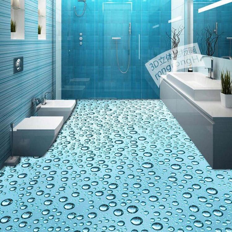 3D Photo Wallpaper Bathroom Floor Murals Wallpaper 3D Water Design Waterproof Mural(China (Mainland))