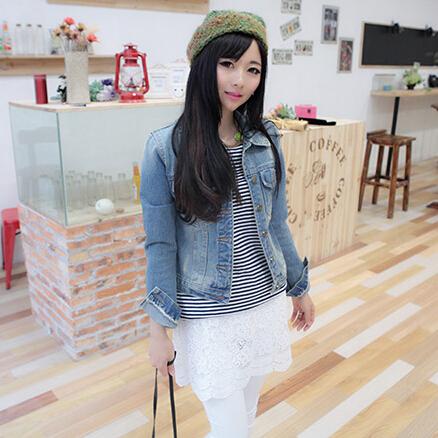 2015 spring new denim jacket female long sleeve short jean jacket women slim hole all-match Korean small coat tide(China (Mainland))