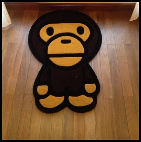 Bape Baby Milo Shaped Rug Floral Carpet Mat Rugs