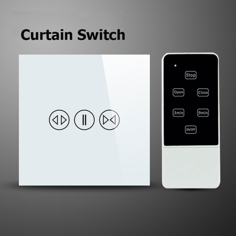 eWelink UK Standard Touch House Home Led Remote Curtains Switch, Crystal Glass Panel Remote Wall Switch 220V For Home Automation