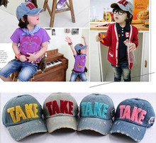 Unisex Children's Adjustable Strap Print Letter Fashion Jeans Baseball Caps boy and girl Sun Hat(China (Mainland))