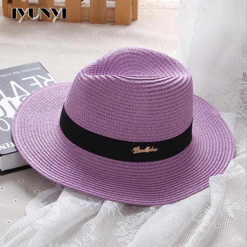 IYUNYI Fashion Summer Women Letter Straw Hat Large Brim Jazz Beach Sun Hats Hat Paper Straw Cap(China (Mainland))