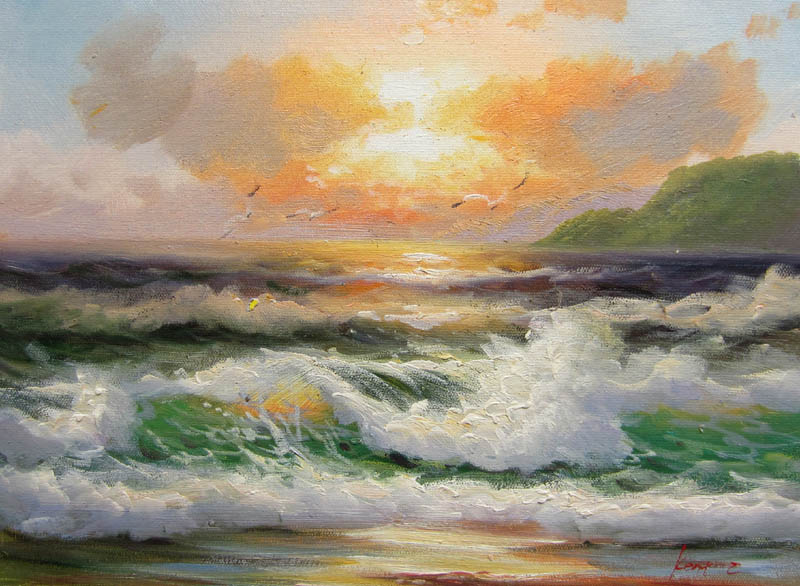 Hand Painted Impressionist Oil Painting Sunrise Seascape