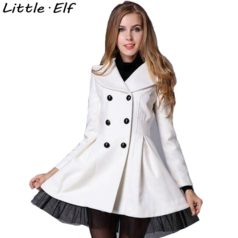 New Winter Double Breast Woolen Long Coat Women Turn Down Collar Slim Woolen Outerwear Lace Jacket S-XXL Plus size SY853SY(China (Mainland))
