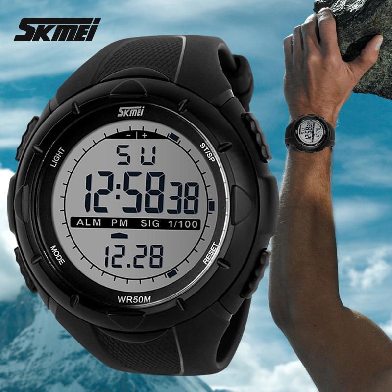 2016 новый Skmei бренд мужской спортивные часы из светодиодов 50 м погружения плавать платье мода цифровой военного часы студент открытый наручные часы