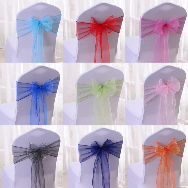 Wholesale 100pcs/lot DIY Wedding Organza Chair Cover Sash