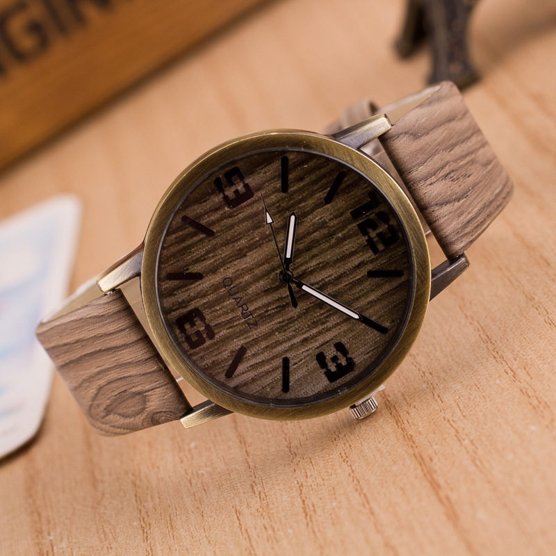 Simulation Wooden Quartz Men Watches Casual Wooden Color Leather Strap Watch Wood Male Wristwatch Relojes Relogio