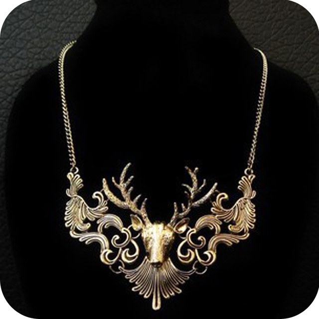 Free shipping  fashion accessories vintage deer exaggerated necklace