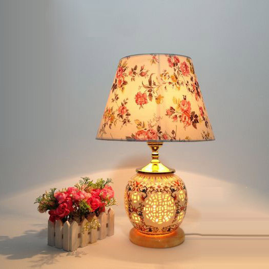 D12 x H19 Chinese Classical Ceramic Bedroom Beside Table Light Creative Country Rustic Hotel Table Lamp White marble Base<br>