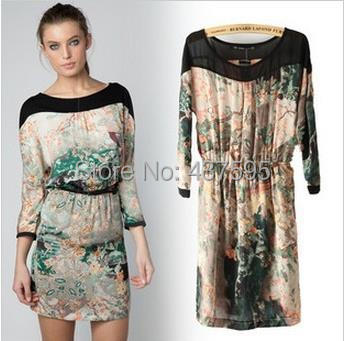 Hot Sale European Style Ink painting back open fork wrapped round collar dress za women floral print dress brand factory supply(China (Mainland))