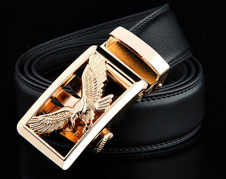 2015 New Fashion  Men Cowhide Genuine Leather Belt Automatic Buckle Metal Plate Designer Belts Men(China (Mainland))