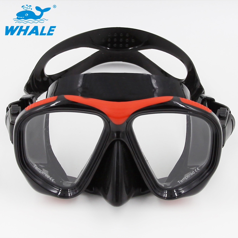 WHALE Brand Tempered Glass Lens Adult Dive Underwater Diving Face Mask Scuba Snorkel Swimming Goggles For GoPro Hero mergulho(China (Mainland))