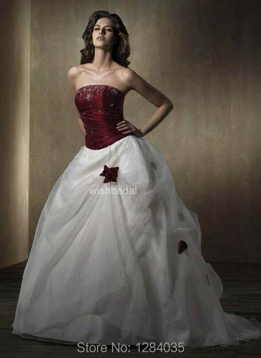 Aliexpress Buy Popular Cheap Red And White Wedding Dresses With Red Roses Strapless Ball