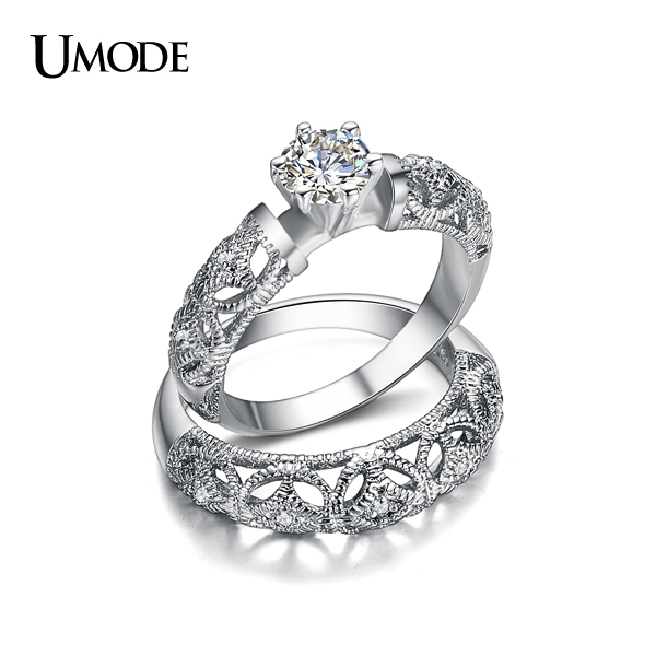 UMODE Famous Brand Luxury Jewelry Fine Carving Filigree Band AAA CZ Diamond Wedding Ring Sets For Women Anillos Gift AUR0130(China (Mainland))