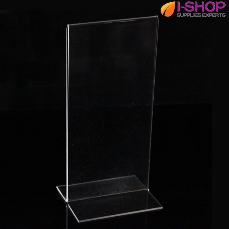 DL T Shape Stand up Sign Holder Picture Frame Portrait Counter Display 99x210mm PT1-01(China (Mainland))