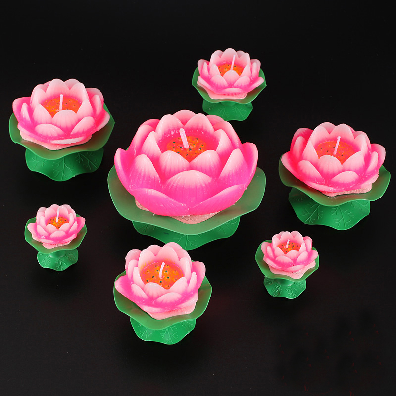 Butter lamp candles, Lotus flower shape, four sizes to choose, the largest one (size 11.5X17.5cm), 6pcs/set(China (Mainland))