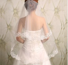 Best Selling Wedding Accessories Hair Accessory Tulle 2015 Lace Bridal Veil Long Veil Married Double Layer Veil for Brides(China (Mainland))