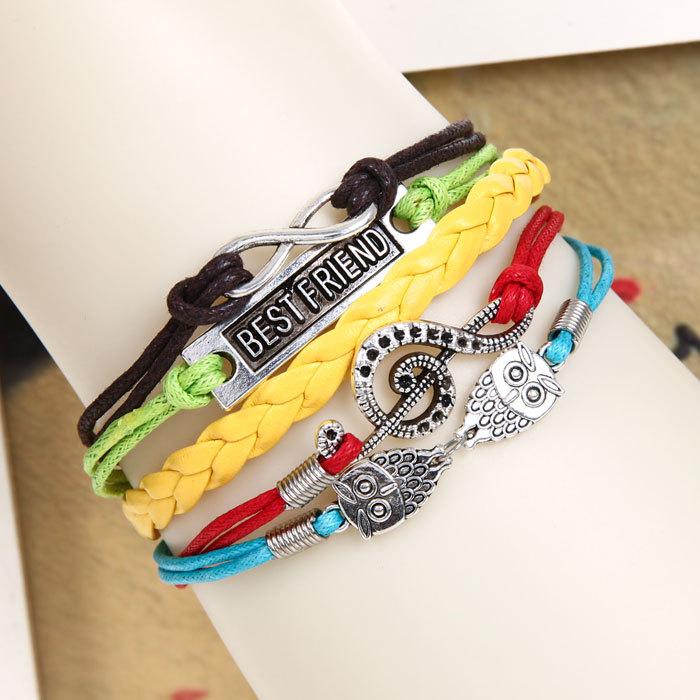 Min order $5 Fashion Vintage Infinity Anchor Hook Artificial Leather Bracelet, Men Women Bracelets & Bangles Jewelry(China (Mainland))