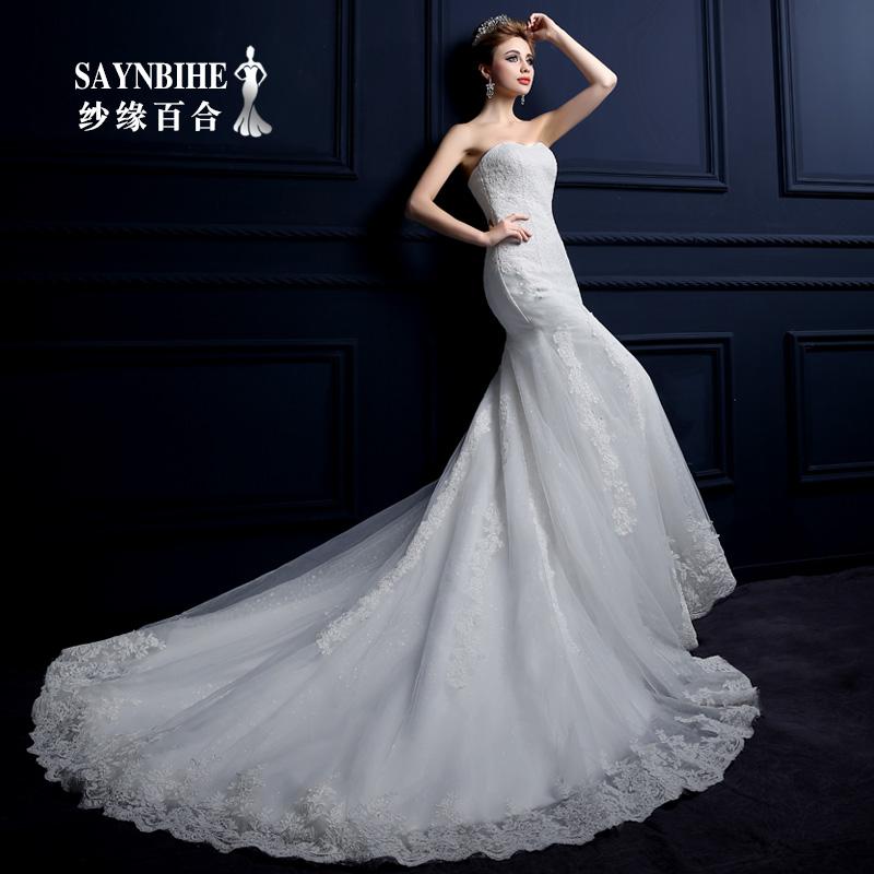 Yarn edge lily 2015 spring and summer wedding dress trailing fishtail wedding bride wedding fashion Slim Bra(China (Mainland))