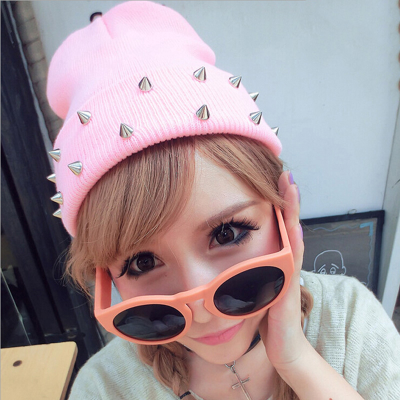 New Unisex Beanie Hats Cone Spikes Studded Punk Rock Rivet Winter Warm Knitted Caps 6 Colors(China (Mainland))