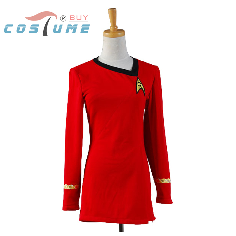 Star Trek Duty Uniform TOS Red Dress Party Halloween Cosplay Costumes For Women Badge Hot Sale(China (Mainland))