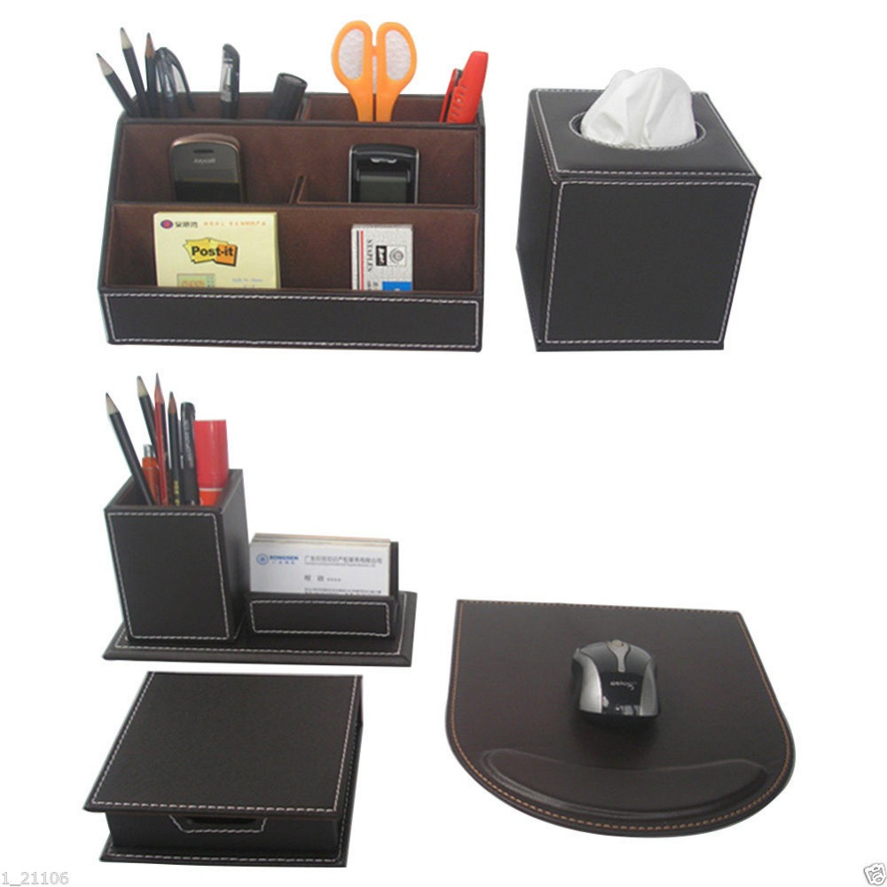 Ever perfect 5 pcs set office leather desk stationery - Leather desk organizer set ...