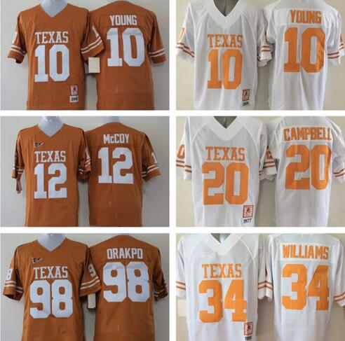 Longhorns 12 Colt McCoy Football Jerseys College Orange White 98 Brian Orakpo 34 Ricky Williams 10 Vince Young 20 Earl Campbell(China (Mainland))