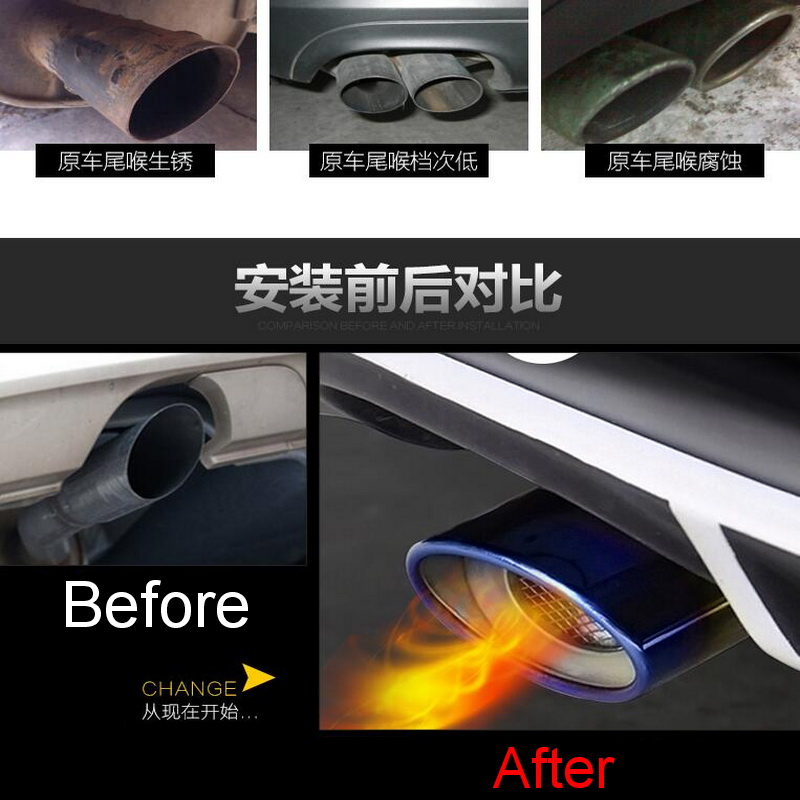 1 PCS DIY Car style New stainless steel special exhaust pipe tail pipes cover case for Ford 2015 new Focus part accessories<br><br>Aliexpress