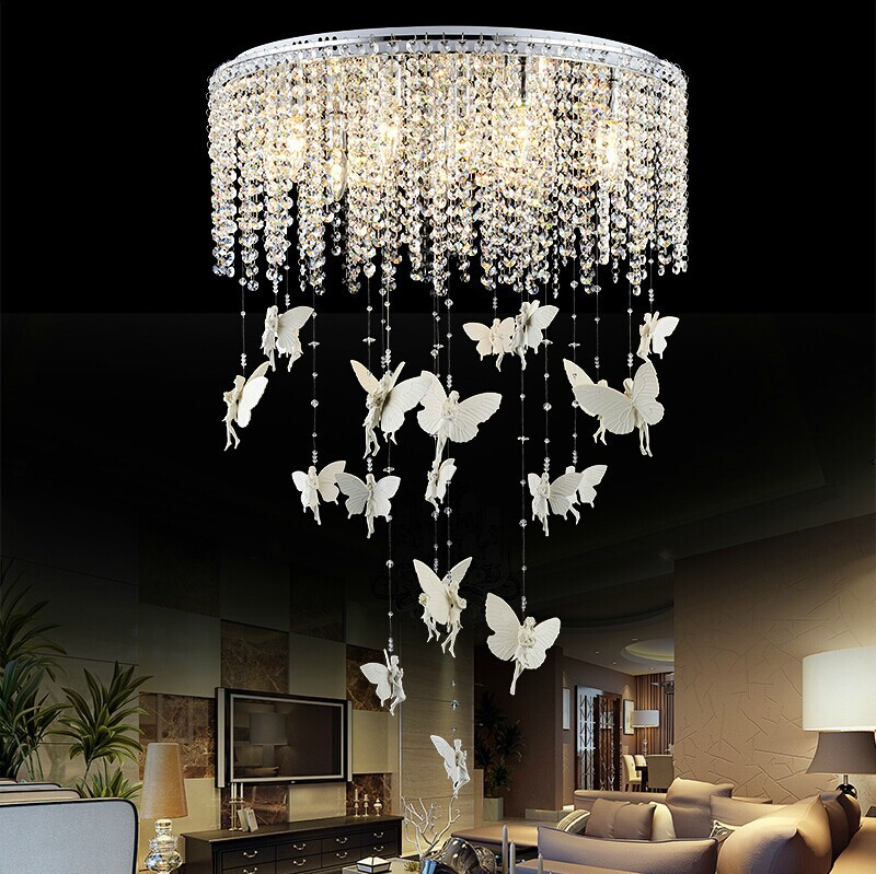 Creative Angel Butterfly Crystal Ceiling Lights Modern Led E14 Kristallen Lampen Ceiling Lamp For Bedroom Luminaria Fixtures(China (Mainland))
