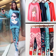 4 Colors Maternity Clothes Spring Autumn Fashion Vestidos Printing Two-piece Cartoon Sets Loose Tops +  Maternity Pants (China (Mainland))