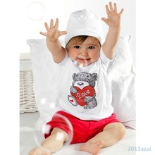 2pcs Baby Girl Kids T shirt Short Sleeve Top Pants Heart Bear Outfit Clothes Set