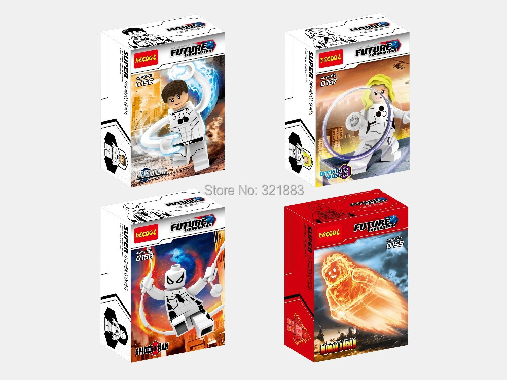 Decool 156-159 super heros Fantastic four 2th Humantorch invisible woman Mr fantastic human torch building block minifigure toy - F & C Store store