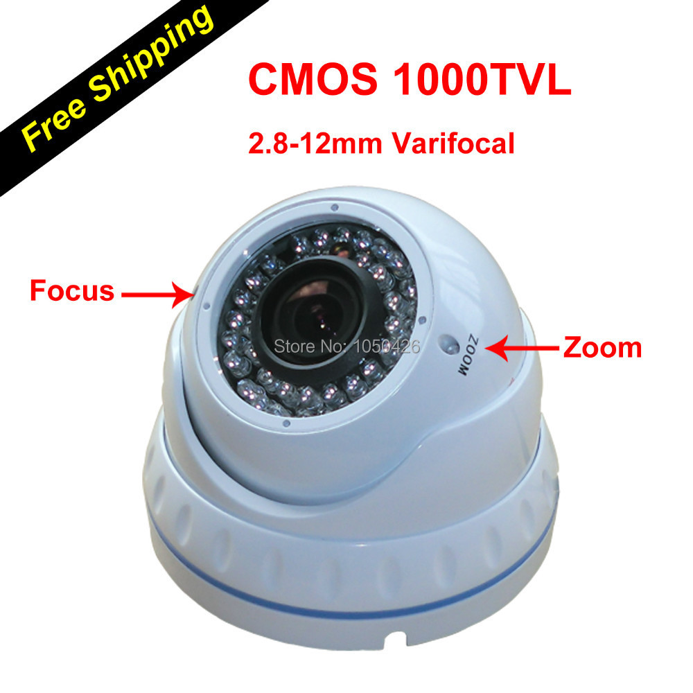 New External Varifocal 2.8-12mm Focus Zoom Lens 1000TVL Video Surveillance CCTV Security Camera Dome for home security system(China (Mainland))