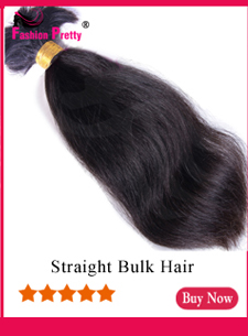 Fashion Pretty Brazilian Virgin Kinky Straight Human Hair Bulk For Braiding 1Pcs/Lot 100g Coarse Yaki Bulk Hair Extensions