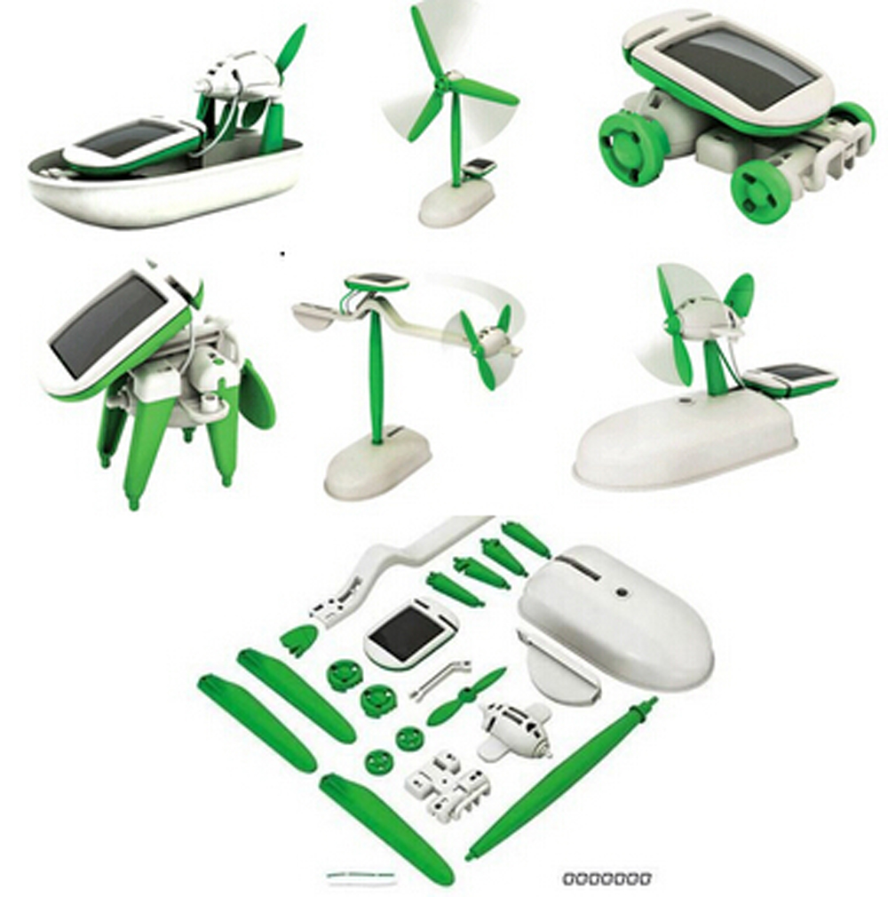 One Pack Can DIY 6 Kinds Magic Mini Plastic Solar Energy Powered EducationToys Best Gift Electric robots Toys For chidren Kids(China (Mainland))