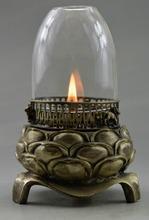 Коллекционная оформлен старый ручная тибет серебряные и стекло высекает лотоса масляной лампы