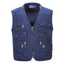 2015 Autumn Men's Jean Vest Outdoor Sleeveless Denim Jacket Vest Casual Multi-Pockets Waistcoat Jeans Vests Plus Size 4XL 5XL