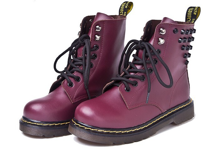 Platform Winter Autumn Boots Womens Rivet Motorcycle Ankle Martin Boots Botas Female Genuine Leather Waterproof Shoes Boots<br><br>Aliexpress