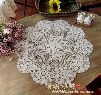 European IKEA  needle crochet round table cloth table mat rustic funiture cover cotton knitted table cloth cover