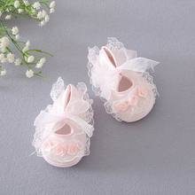 Retail Baby First Walkers Flower Soft Sole Lace Baby Girl Cotton Princess Shoes 6846(China (Mainland))