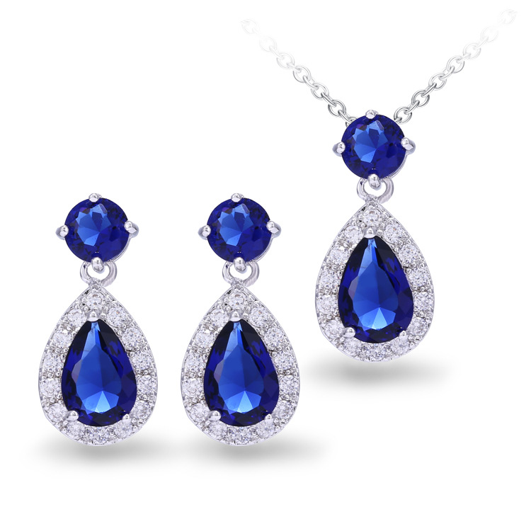 J& R Store Blue Water Drop Jewelry Sets AAA Cubic Zircon Necklace Earrings for Women Gold Plated Charm Lady Wedding Jewelry Gift(China (Mainland))