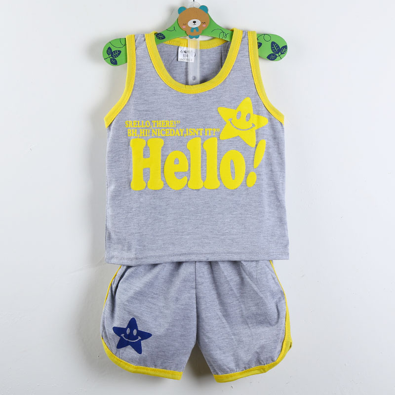 2016 Latest Children's Clothing Baby two-piece Sleeveless Children Suits HELLO letter pattern Summer Short-sleeved Vest Sets(China (Mainland))