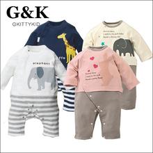 Animal Rompers Fashion infantil newborn Baby Clothing Baby Boys Cotton Cute Cartoon Elephant And Giraffe Rompers Baby Clothing(China (Mainland))