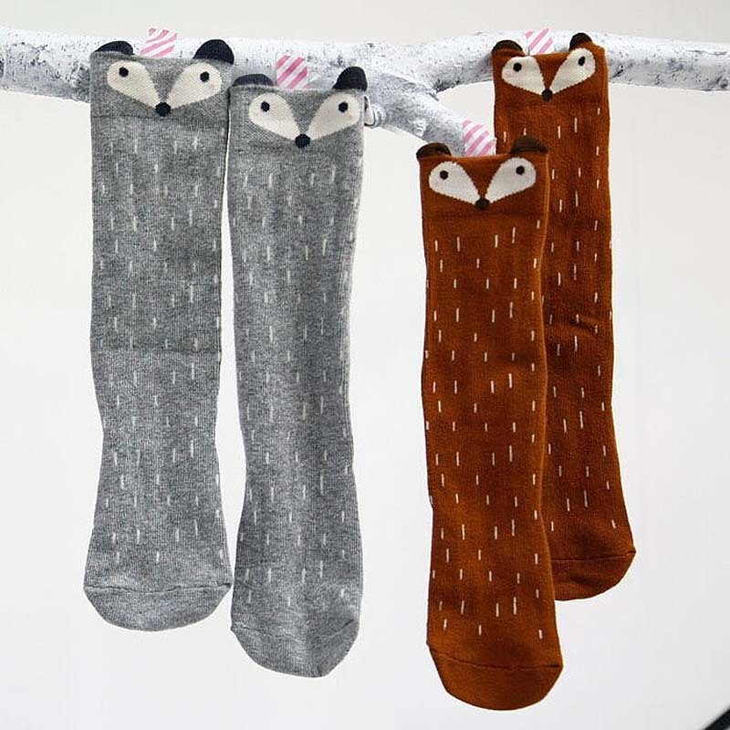 Funny Kawaii Baby Leg Warmers Cartoon Fox Socks Baby Boys Girls Legwarms Knee Protector For Children Leg Warm