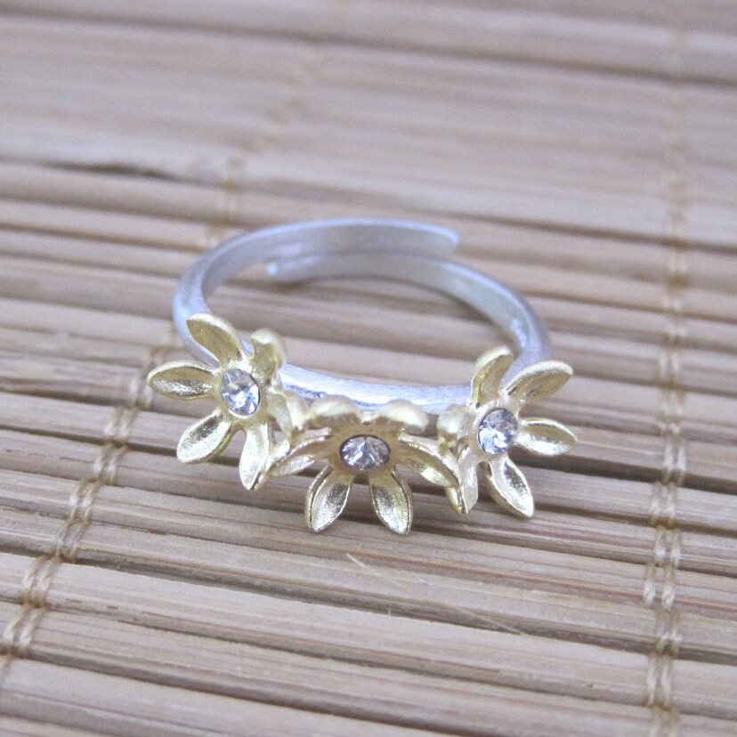 925 Sterling Silver 24 carat gold secret garden three flower sunflower ring [Italy] design personality(China (Mainland))