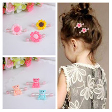 Korean Hot Sell Many Color Hat Sunflower Animal Shape Baby Girls Spring Clip Elastic Hairpin Hair Clip Children Hair Accessories