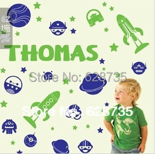 Free shipping large size Customized Personalized Name wall stickers&Rocket&spacecraft&Outer space Art Vinyl Wall Sticker kids(China (Mainland))