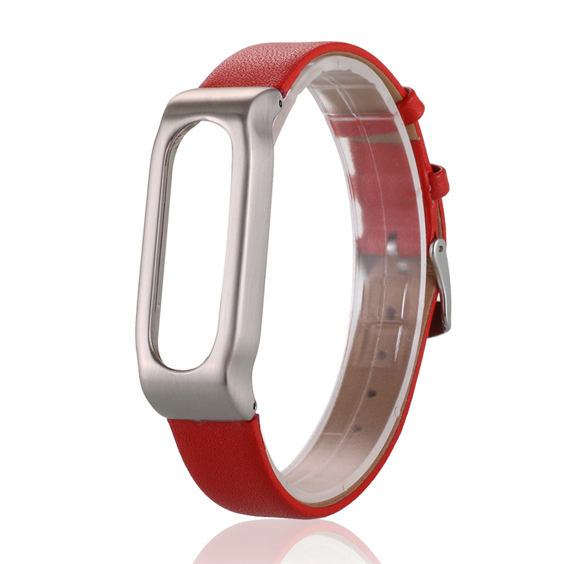 2016 New Adjustable Metal Frame PU Leather Wristband Strap for Xiaomi Mi Band 1A and 1S